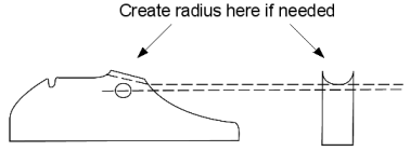 Drawing of extractor showing where to create radius.