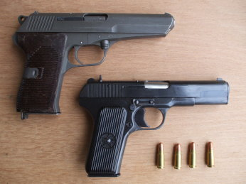 CZ-52 and TT-33 (Romanian TTC) 					7.62x25mm pistols.