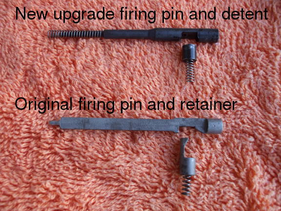 Original and new firing pin and retaining plunger for the CZ-52 pistol.